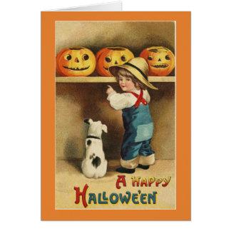 Garçon vintage de Halloween Carte