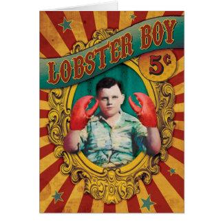 Garçon vintage de homard d'exposition de monstres carte de vœux