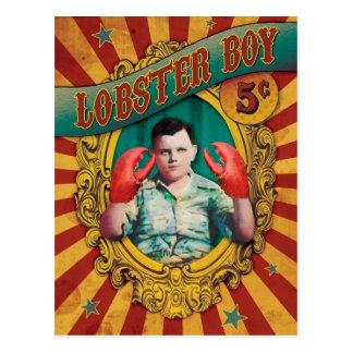 Garçon vintage de homard d'exposition de monstres carte postale