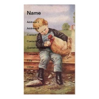 Garçon vintage et poulets cartes de visite personnelles