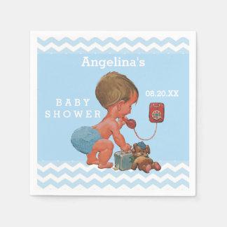 Garçon vintage sur des chevrons de baby shower de serviette en papier