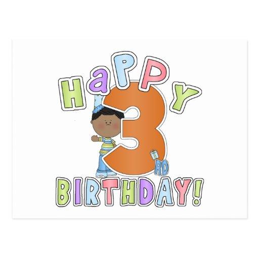 Garçons joyeux 3ème anniversaire, Afro-américain Carte Postale