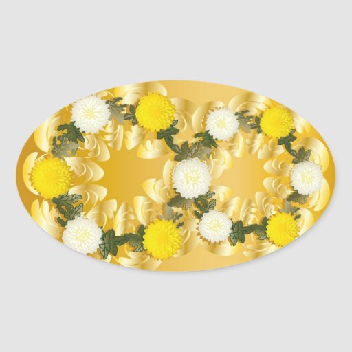 Garcya.us_8m#2 (3) gold yellow white flowers oval stickers