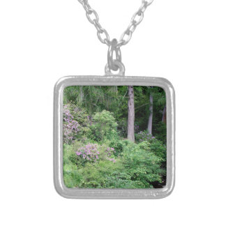 Garden and stream, highlands,Scotland Silver Plated Necklace