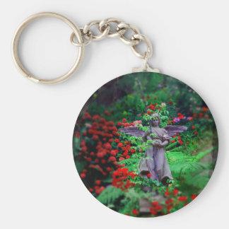 Garden Angel Basic Round Button Keychain