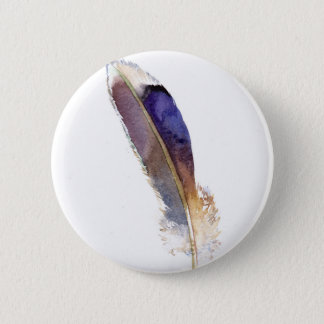 Garden Bird Feather Watercolor 2 Inch Round Button