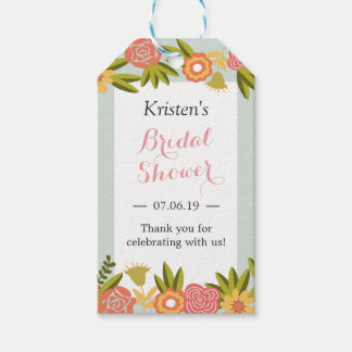 Garden Blooming Flowers Modern Bridal Shower Favor Gift Tags