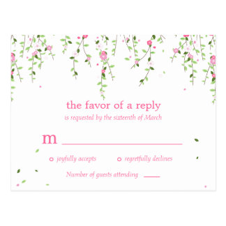 Garden Blooms Wedding RSVP Postcard