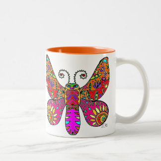 Garden Butterfly  Orange Pink Yellow Two-Tone Coffee Mug
