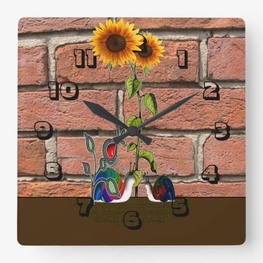 Garden by brick wall square wall clock