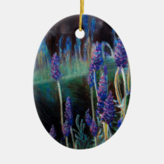 Garden By the Pond at Twilight Ceramic Ornament
