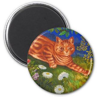 Garden Cat Artwork by Louis Wain 2 Inch Round Magnet