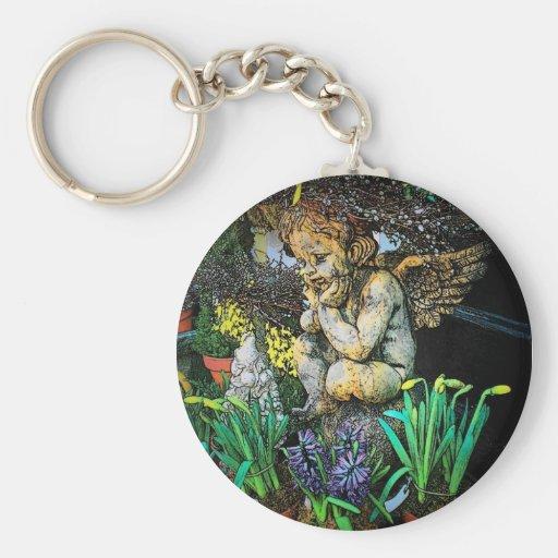 Garden Cherub Keychain