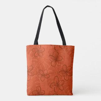Garden edge deep coral tote bag