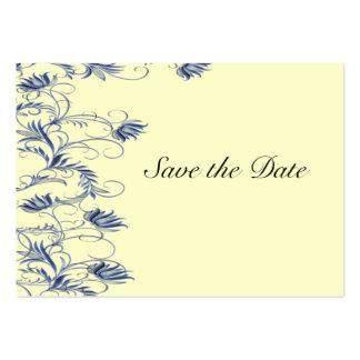 Garden Essence Blue  & Cream Yellow Save The Date Business Card Templates