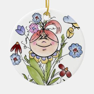 Garden Fairy Folk Art Round Ceramic Ornament