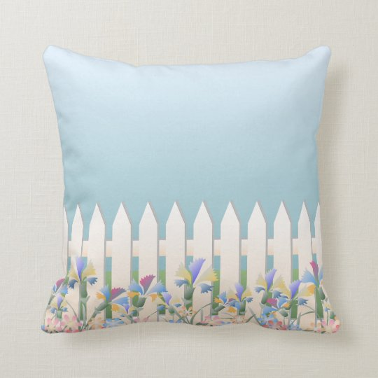 Garden Fence and Flowers Pillow