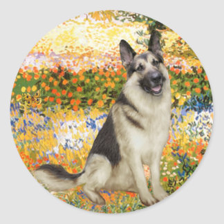 Garden Fiorito - German Shepherd 9 Round Sticker