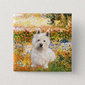 Garden Fiorito - Westie 1 2 Inch Square Button