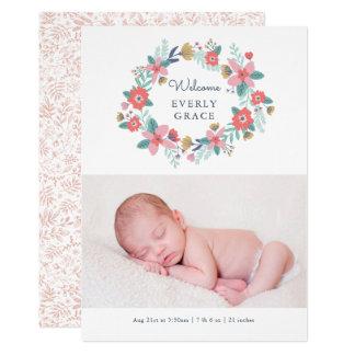 Garden Floral Birth Announcement