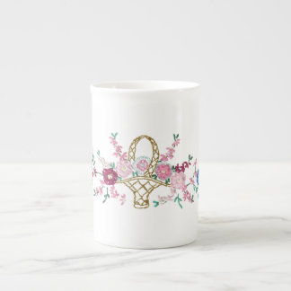 Garden Floral Embroidery Bone China Cup