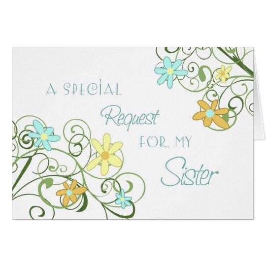 Garden Flower Sister Maid of Honour Invitation