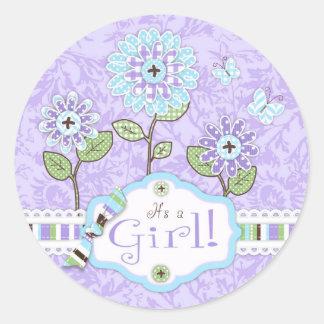Garden Flowers and Butterflies Baby Shower Sticker
