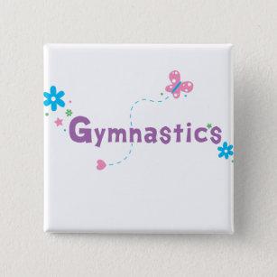 Garden Flutter Gymnastics 2 Inch Square Button