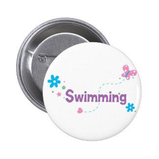 Garden Flutter Swimming 2 Inch Round Button