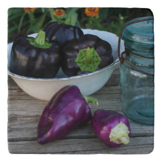 Garden Fresh Peppers With Antique Jar Trivet