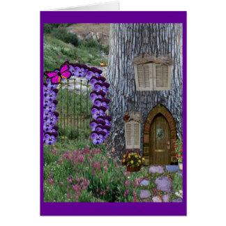 Garden Gate Fairy Cottage Card