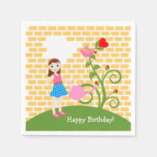 Garden girl Birthday Party Paper Napkin