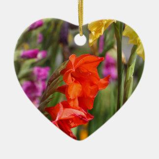 Garden gladiolus (Gladiolus x hortulanus) Ceramic Heart Ornament