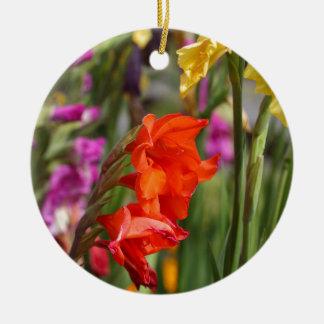 Garden gladiolus (Gladiolus x hortulanus) Round Ceramic Ornament