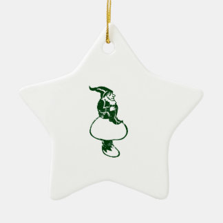 Garden Gnome Ceramic Star Ornament