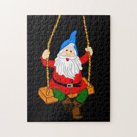 Garden Gnome on a Swing Jigsaw Puzzle