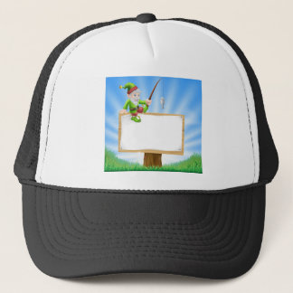 Garden gnome or elf sign trucker hat