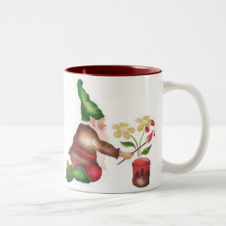Garden Gnome Painting Flowers Two-Tone Coffee Mug