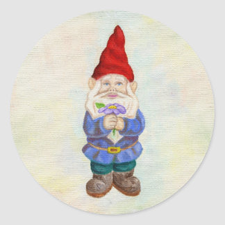 Garden Gnome with Flower sticker