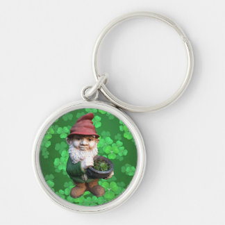 Garden Gnomes Silver-Colored Round Keychain