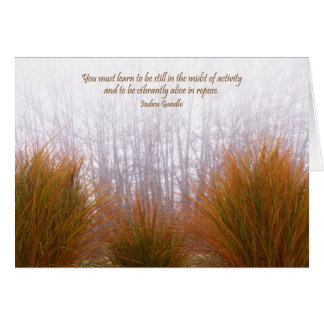 Garden Grasses on a Foggy Winter Day Card