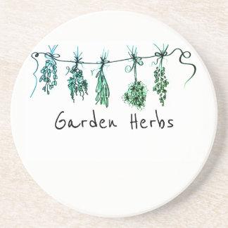 Garden Herbs - green hues Coaster