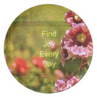 Garden Hollyhock Floral Joy Plate