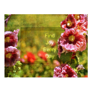 Garden Hollyhock Floral Joy Postcard
