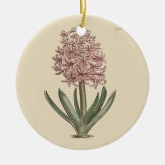 Garden Hyacinth Botanical Illustration Round Ceramic Ornament