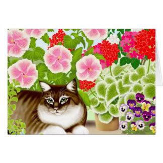Garden Jungle Cat Greeting Card