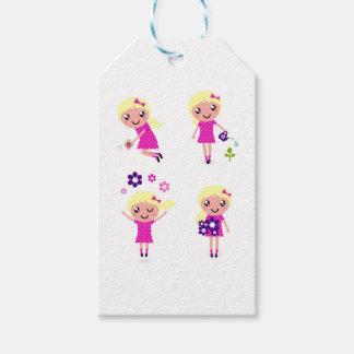 Garden kids pink gift tags