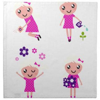 Garden kids pink napkin