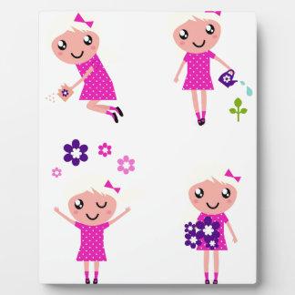 Garden kids pink plaque