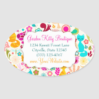 Garden Kitty Oval Sticker